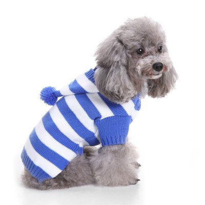 Cute Hat Striped Dog Sweater