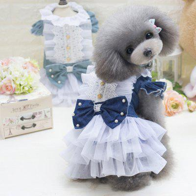 Lovoyager E7 Fashion Denim Dog Dress Pets Puppy Princess Bowknot Party Costume