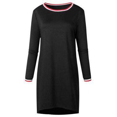 Buy BLACK L 2017 New Autumn Pure Color Simple Dress for $25.99 in GearBest store