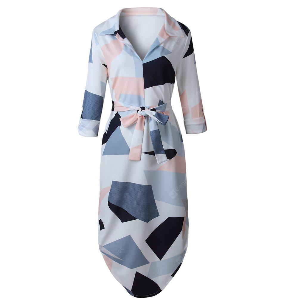 PINK L 2017 New long Sleeve Sexy Irregular Geometric Square Print Dress