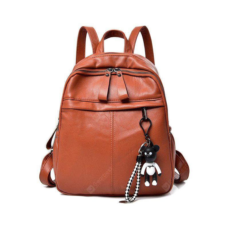BROWN New Fashion All Match Shoulder Bag PU Ladies Backpack
