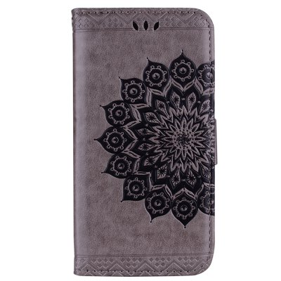 Bling Bling Style Datura Flower Pattern Flip PU Leather Wallet Case for iPod Touch 5