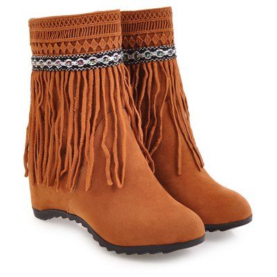 Womens Ankle Boots Elegant Solid Color Tassel All-match ShoesWomens Boots<br>Womens Ankle Boots Elegant Solid Color Tassel All-match Shoes<br><br>Boot Height: Ankle<br>Boot Tube Height: 15<br>Boot Type: Fashion Boots<br>Closure Type: Slip-On<br>Embellishment: Tassel<br>Gender: For Women<br>Heel Height: 7<br>Heel Height Range: High(3-3.99)<br>Heel Type: Increased Internal<br>Package Contents: 1 x Shoes(pair)<br>Pattern Type: Solid<br>Season: Spring/Fall, Winter<br>Toe Shape: Round Toe<br>Upper Material: Flock<br>Weight: 1.6588kg