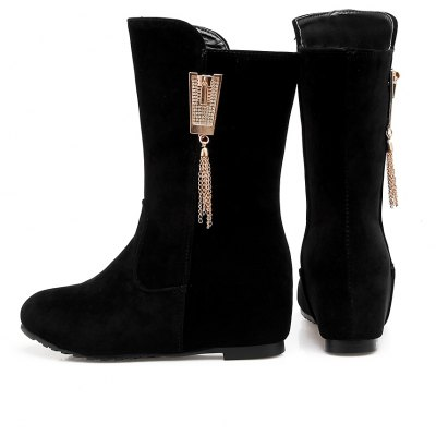 Womens Bottine Mid Calf Rhinestone Ornament Sweet Solid Color ShoesWomens Boots<br>Womens Bottine Mid Calf Rhinestone Ornament Sweet Solid Color Shoes<br><br>Boot Height: Mid-Calf<br>Boot Tube Height: 18<br>Boot Type: Fashion Boots<br>Closure Type: Slip-On<br>Embellishment: Tassel<br>Gender: For Women<br>Heel Height: 5<br>Heel Height Range: Med(1.75-2.75)<br>Heel Type: Increased Internal<br>Package Contents: 1 x Shoes(pair)<br>Pattern Type: Solid<br>Season: Spring/Fall, Winter<br>Toe Shape: Round Toe<br>Upper Material: Flock<br>Weight: 1.6588kg
