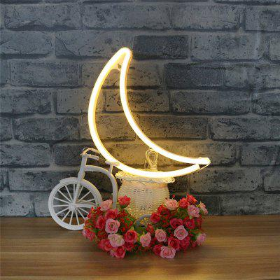 Novelty Moon Shaped Neon Night Light LED Wall Hanging for Home Wedding Decor