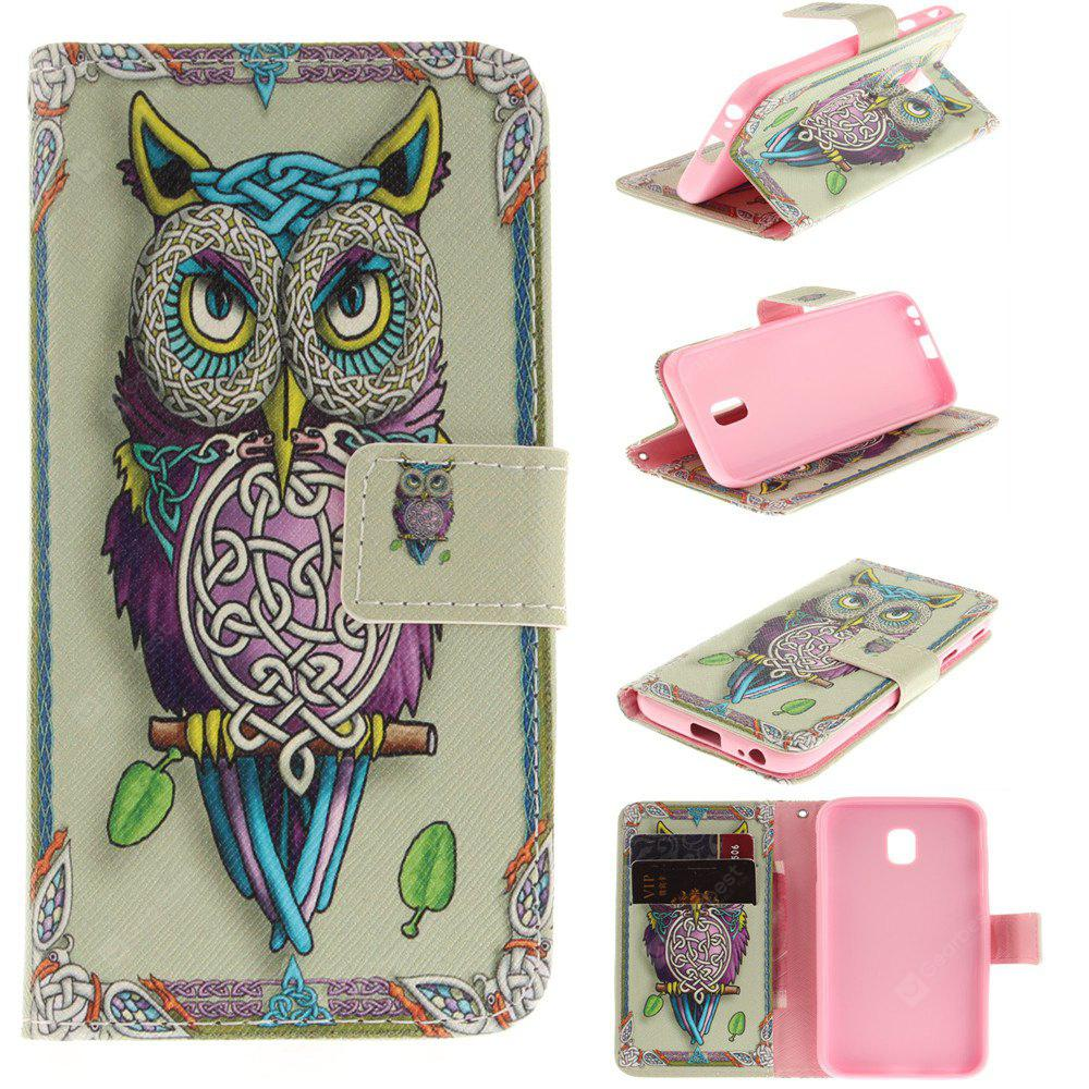 Owl Pattern PU+TPU Leather Wallet Case Design with Stand and Card Slots Magnetic Closure for Samsung Galaxy J3 2017 J330 EU Version