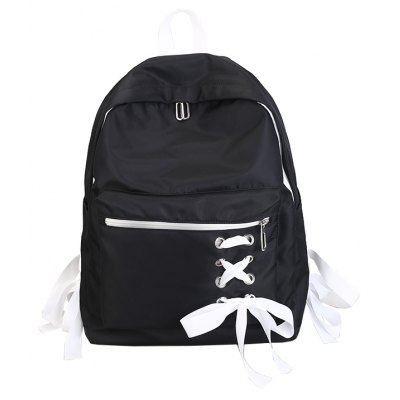 Buy BLACK Chic Ribbon Decoration Simple Casual Backpack Schoolbag for Girls for $22.99 in GearBest store