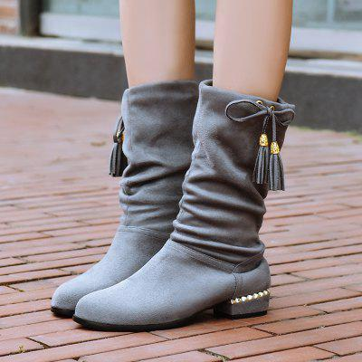 Womens Shoes Winter Fashion Slouch Round Toe Pleated Mid-Calf Boots TasselWomens Boots<br>Womens Shoes Winter Fashion Slouch Round Toe Pleated Mid-Calf Boots Tassel<br><br>Boot Height: Mid-Calf<br>Boot Tube Circumference: 32<br>Boot Tube Height: 17<br>Boot Type: Riding/Equestrian<br>Closure Type: Slip-On<br>Embellishment: Ruched<br>Gender: For Women<br>Heel Height: 2.5<br>Heel Height Range: Low(0.75-1.5)<br>Heel Type: Low Heel<br>Insole Material: PU<br>Lining Material: PU<br>Outsole Material: Rubber<br>Package Contents: 1xShoes(pair)<br>Pattern Type: Solid<br>Platform Height: 1<br>Season: Winter<br>Shoe Width: Medium(B/M)<br>Toe Shape: Round Toe<br>Upper Material: PU<br>Weight: 2.0700kg