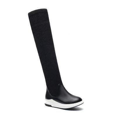 Buy BLACK 43 A Flat Heel Knee Boots Leg Elastic Female Boots SQM#B-9-1 for $49.03 in GearBest store