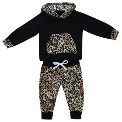 2Pcs Newborn Baby Girl Boy Clothes Set Leopard Print Hooded Coat + Trousers