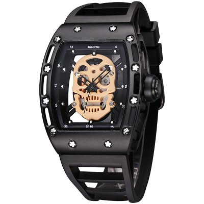 SKONE 3987 Fashion Personality Skull Dial Quartz Movement Men Watch with BoxMens Watches<br>SKONE 3987 Fashion Personality Skull Dial Quartz Movement Men Watch with Box<br><br>Band material: Silicone<br>Band size: 26 x 1.8cm<br>Brand: Skone<br>Case material: Alloy<br>Clasp type: Pin buckle<br>Dial size: 5 x 4 x 1cm<br>Movement type: Quartz watch<br>Package Contents: 1 x Watch, 1 x Box<br>Package size (L x W x H): 28.00 x 8.00 x 3.50 cm / 11.02 x 3.15 x 1.38 inches<br>Package weight: 0.1160 kg<br>Product size (L x W x H): 26.00 x 4.00 x 1.60 cm / 10.24 x 1.57 x 0.63 inches<br>Product weight: 0.0860 kg<br>Shape of the dial: Rectangle<br>Watch mirror: Mineral glass<br>Watch style: Outdoor Sports, Casual, Business, Fashion<br>Watches categories: Men<br>Water resistance: 30 meters