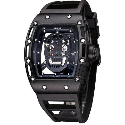 Купить со скидкой SKONE 3987 Fashion Personality Skull Dial Quartz Movement Men Watch with Box