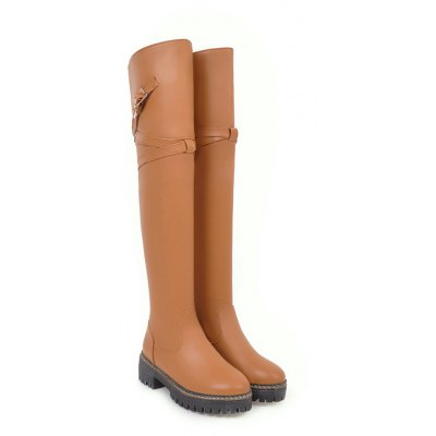 Womens Knee Length Boots Solid Color Comfy All-match ShoesWomens Boots<br>Womens Knee Length Boots Solid Color Comfy All-match Shoes<br><br>Boot Height: Over-the-Knee<br>Boot Tube Height: 50<br>Boot Type: Fashion Boots<br>Closure Type: Slip-On<br>Embellishment: Buckle<br>Gender: For Women<br>Heel Height: 5<br>Heel Height Range: Med(1.75-2.75)<br>Heel Type: Chunky Heel<br>Package Contents: 1 x Shoes(pair)<br>Pattern Type: Solid<br>Platform Height: 2.5<br>Season: Spring/Fall, Winter<br>Toe Shape: Round Toe<br>Upper Material: PU<br>Weight: 1.6588kg