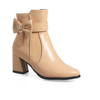 Buy APRICOT 34 Women's Bottine Solid Bowknot Thick Heel All-match Stylish Ankle Boots for $69.60 in GearBest store