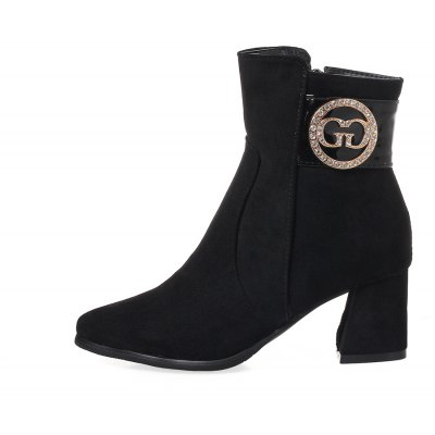 Womens Bottine Solid Color All-match Rhinestone Decorate Side Zipper Thick Heel Pointed Toe ShoesWomens Boots<br>Womens Bottine Solid Color All-match Rhinestone Decorate Side Zipper Thick Heel Pointed Toe Shoes<br><br>Boot Height: Ankle<br>Boot Tube Height: 13<br>Boot Type: Fashion Boots<br>Closure Type: Zip<br>Embellishment: Metal<br>Gender: For Women<br>Heel Height: 6<br>Heel Height Range: Med(1.75-2.75)<br>Heel Type: Chunky Heel<br>Package Contents: 1 x Shoes(pair)<br>Pattern Type: Solid<br>Season: Spring/Fall, Winter<br>Toe Shape: Pointed Toe<br>Upper Material: Flock<br>Weight: 1.6588kg