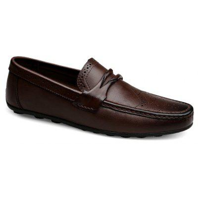 Buy DEEP BROWN 46 Men's New Fashion Head Layer Cowhide Business Shoes for $63.28 in GearBest store