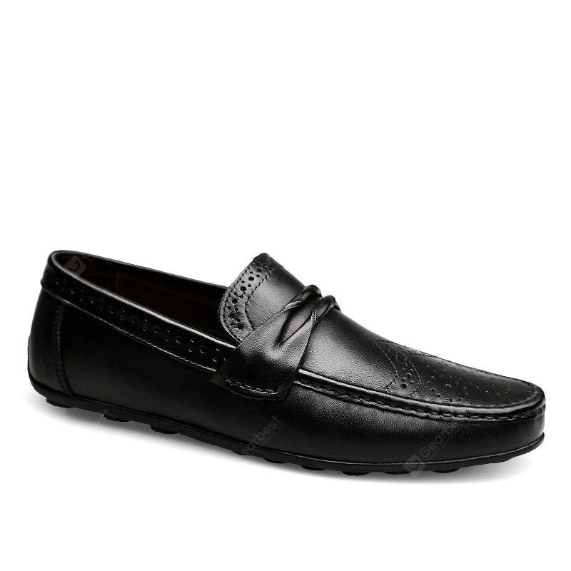 BLACK 44 Men's New Fashion Head Layer Cowhide Business Shoes