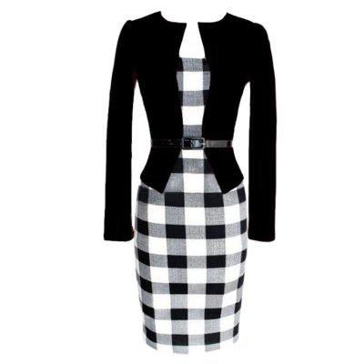 Buy BLACK L Women Wear Long-Sleeve Plaid Stitching Fake Two Professional Dresses for $27.09 in GearBest store