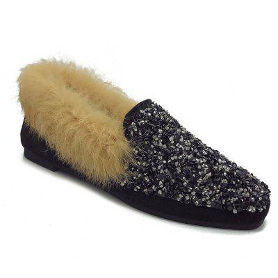 Buy BLACK 35 Bling Fur Slides Women Outdoor Slippers Flip Flops Sandals Plush Warm Home Party Shoes for $32.30 in GearBest store