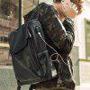 Stylish PU Leather Backpack for Men with USB Interface - BLACK