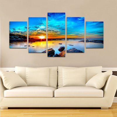 YHHP Sunrise Oriental Beach Scenery Canvas Print for Home Decoration 5PCS