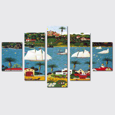 QiaoJiaoHuanYuan No Frame Canvas Sea View Boat Decoration Print 5PCS