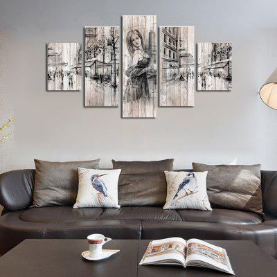 Buy COLORMIX QiaoJiaoHuanYuan No Frame Canvas Beauty European Street View Decorative Print 5PCS for $32.14 in GearBest store