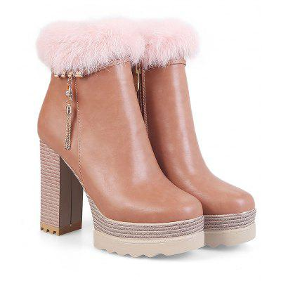Autumn and Winter with Coarse Round Martin Boots Sweet Rabbit Waterproof High-Heeled ShoesWomens Boots<br>Autumn and Winter with Coarse Round Martin Boots Sweet Rabbit Waterproof High-Heeled Shoes<br><br>Boot Height: Mid-Calf<br>Boot Tube Height: 10<br>Boot Type: Work &amp; Safety<br>Closure Type: Zip<br>Gender: For Women<br>Heel Height: 11<br>Heel Height Range: Super High(Above4)<br>Heel Type: Chunky Heel<br>Outsole Material: Rubber<br>Package Contents: 1 x Shoes?pair?<br>Pattern Type: Solid<br>Platform Height: 4<br>Season: Spring/Fall, Winter<br>Toe Shape: Round Toe<br>Upper Material: PU<br>Weight: 1.2320kg