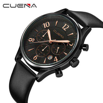 CUENA 6919P Men Multifunction Working Quartz Genuine Leather Watchband Waterproof WatchMens Watches<br>CUENA 6919P Men Multifunction Working Quartz Genuine Leather Watchband Waterproof Watch<br><br>Band material: Genuine Leather<br>Band size: 24 x 2cm<br>Brand: CUENA<br>Case material: Alloy<br>Clasp type: Pin buckle<br>Dial size: 4.25 x 4.25 x 1.1cm<br>Display type: Analog<br>Movement type: Quartz watch<br>Package Contents: 1 x Watch, 1 x Box<br>Package size (L x W x H): 16.00 x 8.00 x 3.00 cm / 6.3 x 3.15 x 1.18 inches<br>Package weight: 0.1050 kg<br>Product size (L x W x H): 24.00 x 4.25 x 1.10 cm / 9.45 x 1.67 x 0.43 inches<br>Product weight: 0.0500 kg<br>Shape of the dial: Round<br>Special features: Working sub-dial, Stopwatch, Light, Day, IP plating<br>Watch mirror: Mineral glass<br>Watch style: Casual, Fashion, Retro, Cool<br>Watches categories: Male table,Men<br>Water resistance: 30 meters