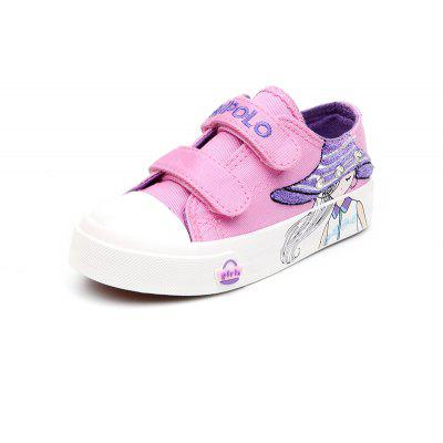 Cute New Style Cartoon Girl Canvas Shoes Casual Magic Stickers