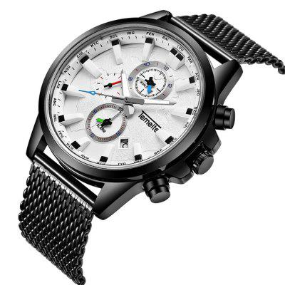 Temeite 4663 Fashion Steel Mesh Band Quartz Men Watch with BoxMens Watches<br>Temeite 4663 Fashion Steel Mesh Band Quartz Men Watch with Box<br><br>Band material: Fine steel<br>Band size: 22 x 2.2cm<br>Brand: Temeite<br>Case material: Alloy<br>Clasp type: Folding clasp with safety<br>Dial size: 4.5 x 4.5 x 1.2cm<br>Display type: Analog<br>Movement type: Quartz watch<br>Package Contents: 1 x Watch, 1 x Box<br>Package size (L x W x H): 28.00 x 8.00 x 3.50 cm / 11.02 x 3.15 x 1.38 inches<br>Package weight: 0.1430 kg<br>Product size (L x W x H): 22.00 x 4.50 x 1.20 cm / 8.66 x 1.77 x 0.47 inches<br>Product weight: 0.1130 kg<br>Shape of the dial: Round<br>Watch mirror: Mineral glass<br>Watch style: Casual, Fashion, Business<br>Watches categories: Men<br>Water resistance: 30 meters