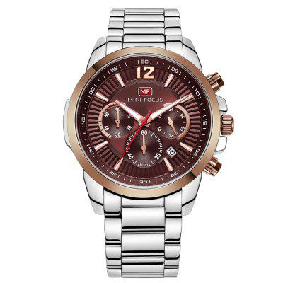 MINIFOCUS MF0087G 4867 Leisure Luminous Calendar Quartz Steel Band Men Watch with Box