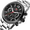 MINIFOCUS MF0087G 4867 Leisure Luminous Calendar Quartz Steel Band Men Watch with Box - BLACK