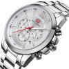 MINIFOCUS MF0087G 4867 Leisure Luminous Calendar Quartz Steel Band Hombres Reloj con caja - BLANCO