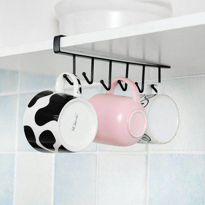 Iron 6 Hooks Rack Kitchen Cupboard Storage