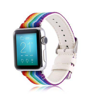 Gestreepte Nylon lederen horloge band band voor Apple Watch 38MM Series 1 Series 2 Series 3