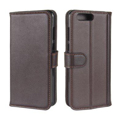 Solid Color Real Cow Leather Wallet Style Front Buckle Flip Case with Card Slots for ASUS Zenfone 4 5.5 inch (ZE554KL)