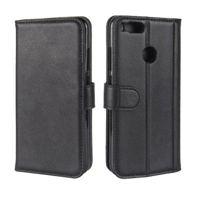Solid Color Real Cow Leather Wallet Style Front Buckle Flip Case with Card Slots for Xiaomi Mi 5X