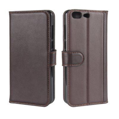 Solid Color Real Cow Leather Wallet Style Front Buckle Flip Case with Card Slots for Leagoo T5