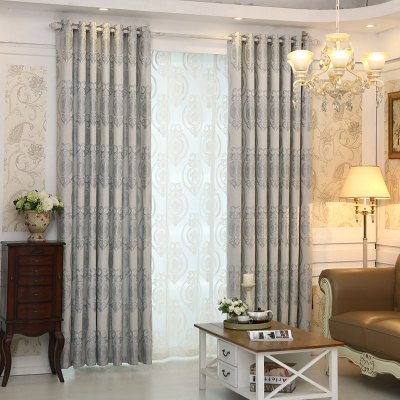 Buy GRAY European Style Living Room Bedroom Restaurant Jacquard Curtain Set for $85.01 in GearBest store