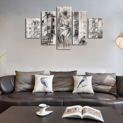 Buy COLORMIX QiaoJiaoHuanYuan No Frame Canvas City Street View Decoration Print 5PCS for $32.14 in GearBest store
