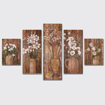 QiaoJiaoHuanYuan No Frame Canvas Vase with Floral Decoration Print 5PCS