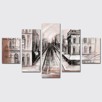 Buy COLORMIX QiaoJiaoHuanYuan Canvas City Street View Decoration Print 5PCS for $32.14 in GearBest store