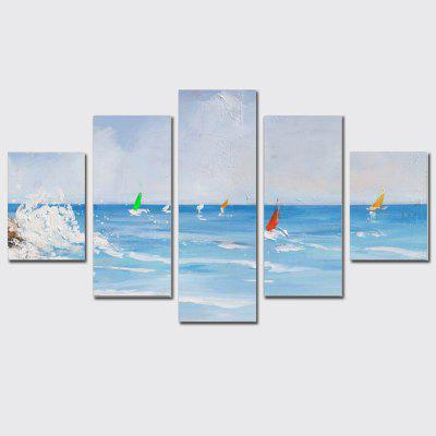 QiaoJiaoHuanYuan No Frame Canvas Sea Wave Sailing Boat Decoration Print 5PCS