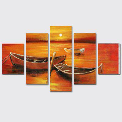 Buy COLORMIX QiaoJiaoHuanYuan No Frame Canvas Sunrise Seaside Sailing Decoration Print 5PCS for $32.14 in GearBest store