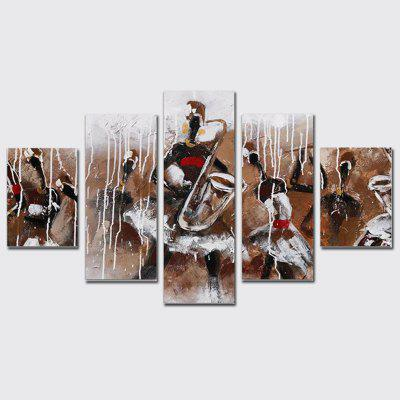 QiaoJiaoHuanYuan No Frame Canvas Abstract Musical Instrument Decoration Print 5PCS