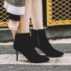 Women's Bottine Solid Color Pointed Toe Thin Heel Shoes - BLACK