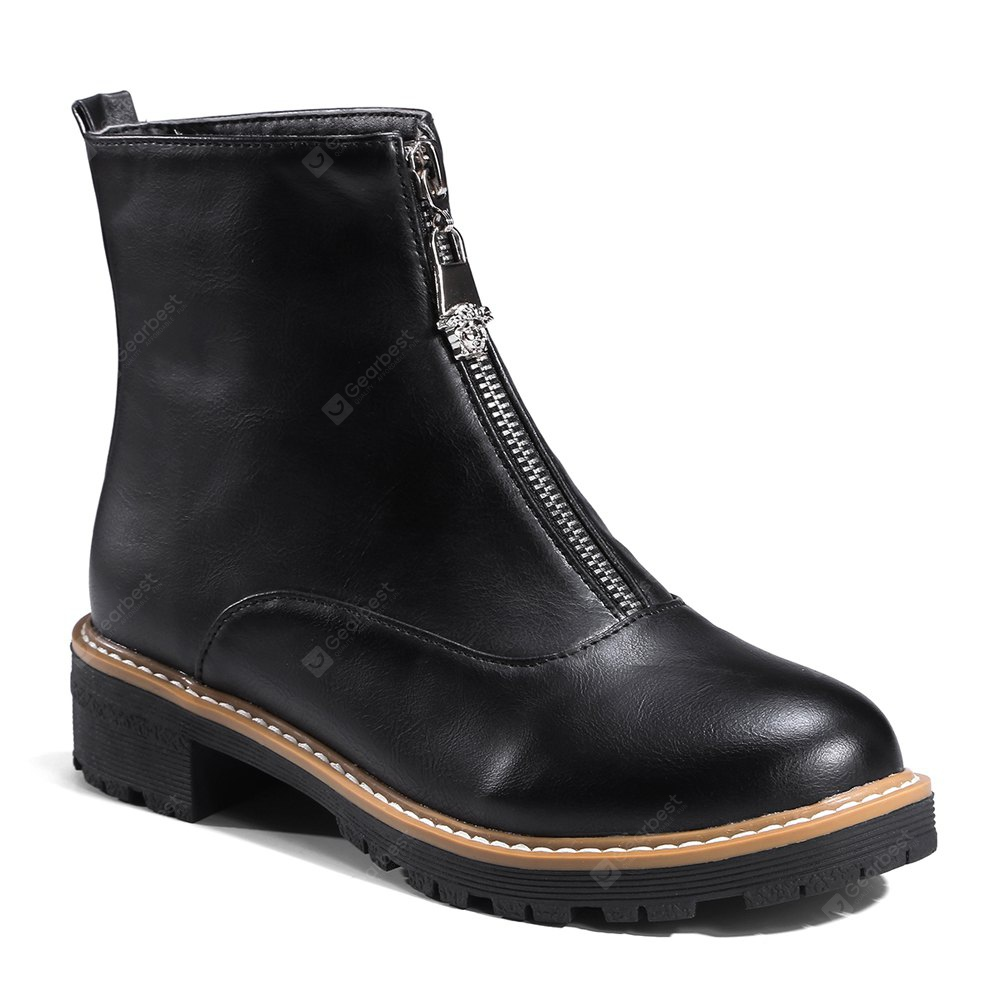 Women's All-match Round Toe Comfy Front Zipper Thick Heel Boots