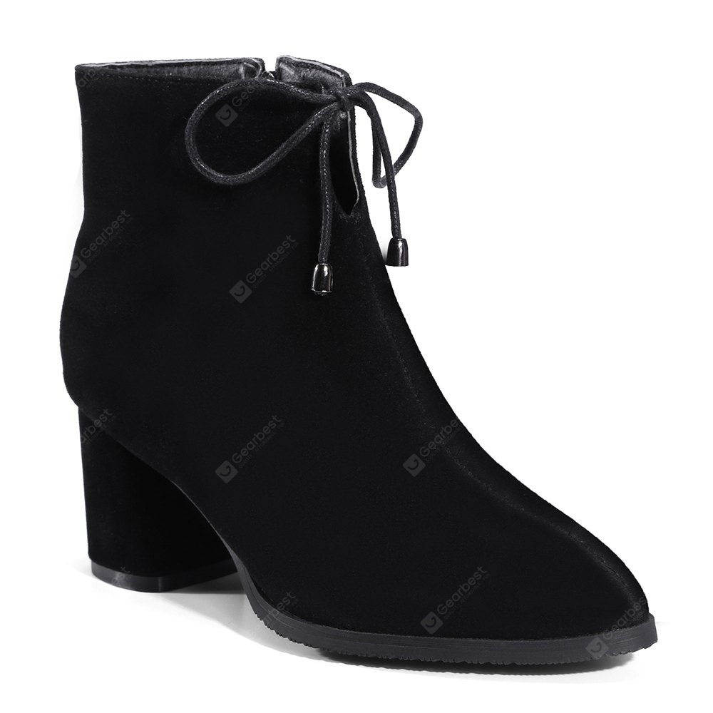 Women's Ankle Boots Pointed Toe Bowknot Decorative Sweet Shoes