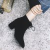 Women's Ankle Boots Pointed Toe Bowknot Decorative Sweet Shoes - BLACK